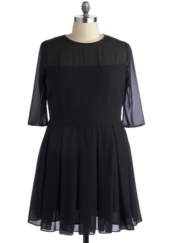 Foreshadowing Fame Dress in Plus Size by BB Dakota - Chiffon, Sheer, Black, Solid, Pleats, Cocktail, A-line, 3/4 Sleeve, Fall, Better, Wedding, Party, Woven, Crew, Exclusives, Girls Night Out, LBD