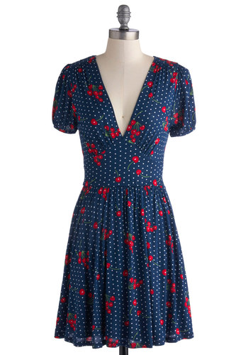 Marvelous Maraschino Dress in Cherries - Jersey, Knit, Blue, Red, Novelty Print, Casual, A-line, Short Sleeves, Good, V Neck, Polka Dots, Vintage Inspired, 40s, Fruits, Print, Short
