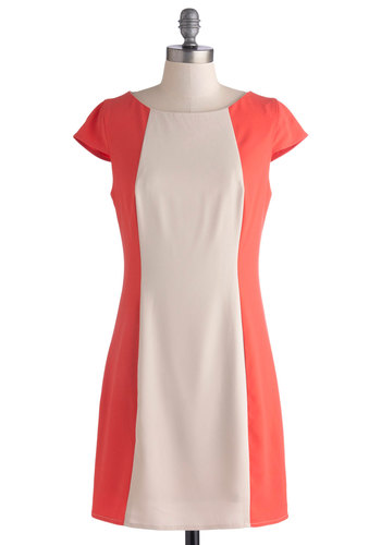Sugar Lane Dress - Knit, Short, Tan / Cream, Coral, Party, Sheath / Shift, Cap Sleeves, Good, Scoop, Solid, Vintage Inspired, 60s, Mod, Colorblocking