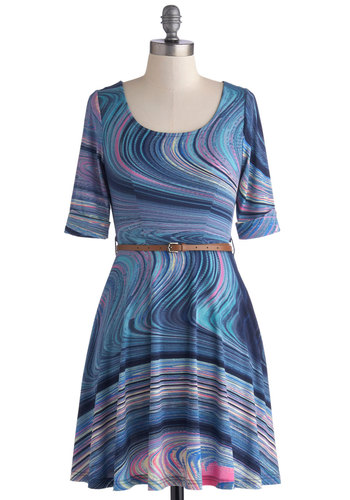 Anywhere in the Whirl Dress - Knit, Short, Blue, Multi, Print, Belted, Casual, A-line, Short Sleeves, Good, Scoop