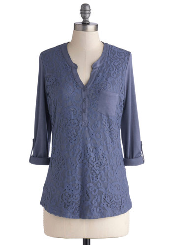 Embracing Lace Top - Jersey, Knit, Mid-length, Blue, Solid, Buttons, Lace, Pockets, Casual, 3/4 Sleeve, Blue, Tab Sleeve