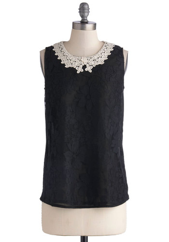 Sheer to Stay Top - Mid-length, Cotton, Black, White, Solid, Lace, Peter Pan Collar, Work, Sleeveless, Crochet, Daytime Party, Sheer, Crew, Black, Sleeveless, Lace