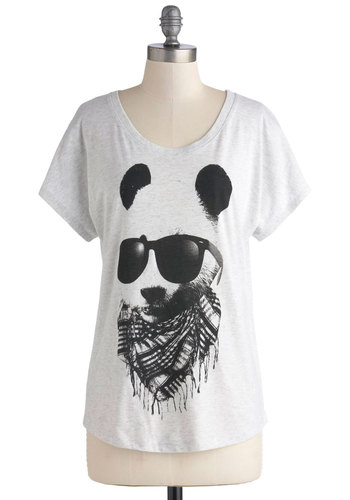 Hip to Be Bear Tee - Jersey, Knit, Mid-length, Grey, Black, Print with Animals, Casual, Short Sleeves, Quirky, Scoop, Urban, Grey, Short Sleeve