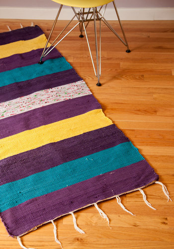 Hall I Ever Wanted Rug in Purple - 4.75x2.25 - Multi, Stripes, Dorm Decor, Cotton, Better, Woven