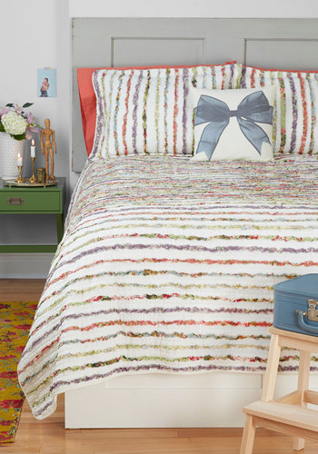Dreaming Porch Quilt Set in Twin - Multi, White, Stripes, Dorm Decor, Cotton, Woven, Best