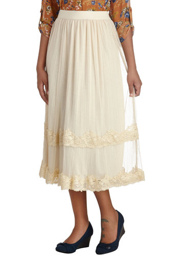 Need I Sway More? Skirt by Louche - Cream, Solid, Lace, Boho, Spring, Summer, Daytime Party, Midi, Mid-length, White