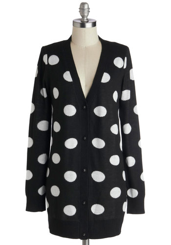 Spot-On Style Cardigan - Knit, Black, White, Polka Dots, Buttons, Vintage Inspired, 80s, Long Sleeve, Casual, V Neck, Black, Long Sleeve