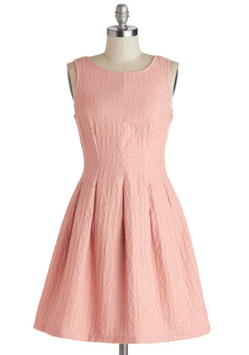 Rose Much Fun Dress - Pink, Solid, Pleats, Daytime Party, A-line, Tank top (2 thick straps), Scoop, Mid-length, Woven, Better, Wedding, Party, Graduation, Pastel, Spring, Valentine's