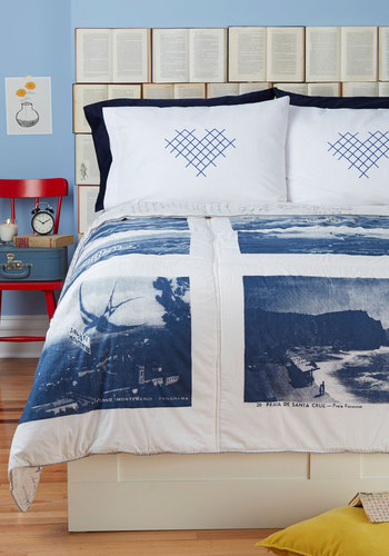 Nap Timeless Quilt in Twin - Cotton, Blue, Vintage Inspired, Travel, White, Novelty Print, Dorm Decor