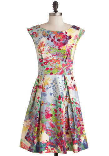 Fantastical Flora Dress - Mid-length, Party, Vintage Inspired, Multi, Blue, Pink, Floral, Pleats, A-line, Cap Sleeves, Cocktail, Cotton, Boat, Daytime Party, Fit & Flare