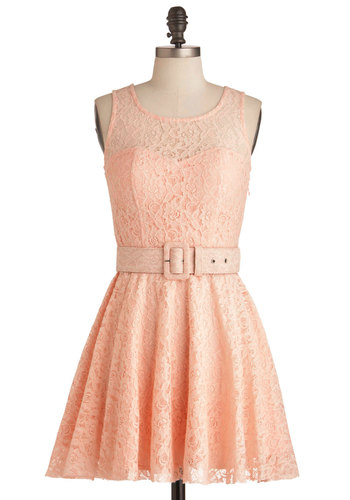 Talk Show Interview Dress - Short, Pink, Lace, Party, A-line, Tank top (2 thick straps), Spring, Belted, Solid, Pastel, Daytime Party, Fit & Flare, Cotton, Summer