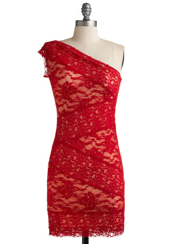 Infrared Lace Dress - Red, Party, Sheath / Shift, One Shoulder, Short, Solid, Variation, Lace, Girls Night Out, Top Rated