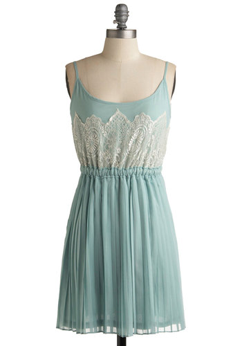 Frost and Foremost Dress - Green, Tan / Cream, Lace, A-line, Spaghetti Straps, Pleats, Party, Summer, Short, Mint