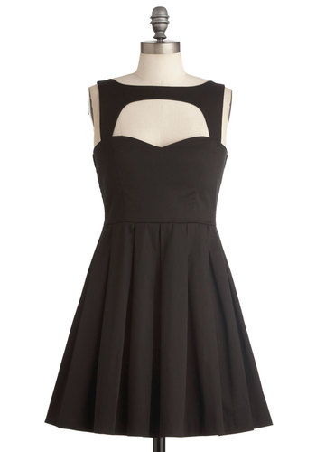 Last Slow Dance Dress - Black, Solid, Cutout, Party, A-line, Sleeveless, Steampunk, Cocktail, Holiday Party, Best Seller, Fit & Flare, Sweetheart, Variation, LBD, Top Rated, Short
