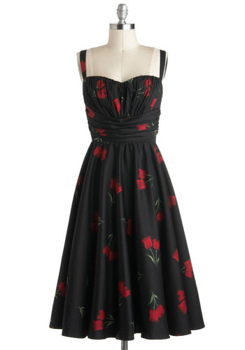 Perfect Perennial Dress by Stop Staring! - Black, Red, Multi, Floral, Ruching, Party, A-line, Spaghetti Straps, Vintage Inspired, 50s, Luxe, Fit & Flare, Long