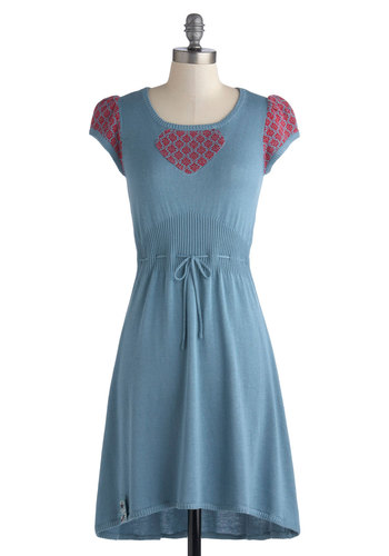 Fabled to Find Dress by Blutsgeschwister - Knit, Mid-length, Blue, Red, Belted, Casual, Sweater Dress, Cap Sleeves, Fall, Better, Scoop, Folk Art