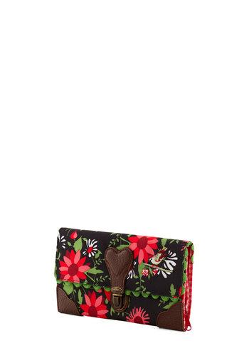 Campus Charm Wallet by Blutsgeschwister - Floral, Scallops, International Designer, Woven, Multi, Red, Green, Pink, Brown, Black, Folk Art