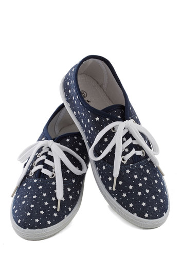 Skippin' on Stars Sneaker - Blue, White, Print, Casual, Flat, Lace Up, Denim, Woven, Novelty Print, Quirky, Fall