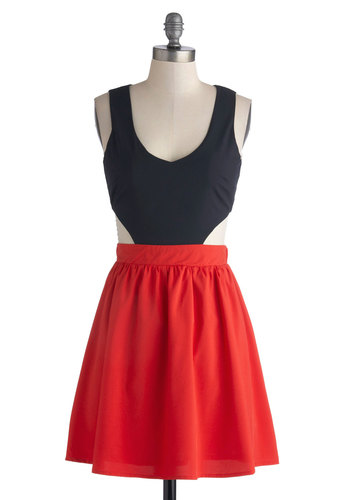 Bar Harbor Boat Tour Dress - Short, Red, Cutout, Girls Night Out, Twofer, Tank top (2 thick straps), Good, Scoop, Blue, Solid, Summer, Exposed zipper