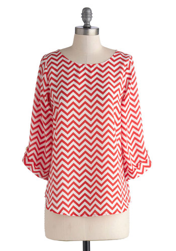 Fragrant Fields Top in Strawberry - Red, White, Chevron, 3/4 Sleeve, Better, Mid-length, Chiffon, Casual, Woven, Variation, Scoop