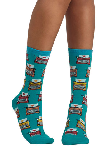 Arche-typewriter Socks - Blue, Multi, Novelty Print, Scholastic/Collegiate, Good, Knit, Valentine's, Quirky