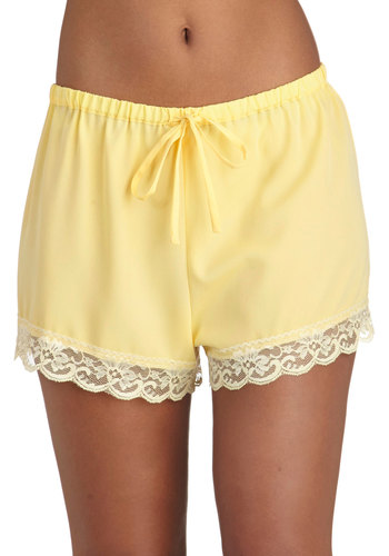 Draped in Dreams Sleep Shorts - Yellow, Solid, Pastel, Lace, Trim, Casual, Exclusives
