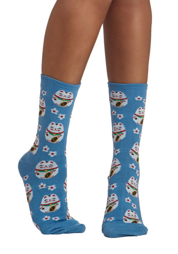 Cat's What I Call Lucky Socks - Blue, Print with Animals, Good, Multi, Knit, Novelty Print, Kawaii, Quirky, Cats
