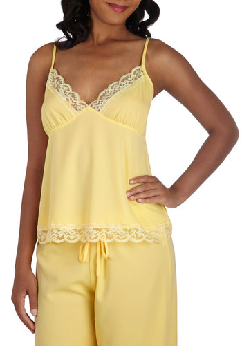 Draped in Dreams Sleep Top - Yellow, Solid, Pastel, Spaghetti Straps, Lace, Trim, Exclusives