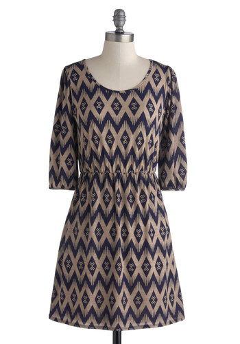 Birthday Wish Come True Dress - Knit, Short, Blue, Tan / Cream, Casual, A-line, 3/4 Sleeve, Fall, Good, Scoop, Print, Work, Top Rated