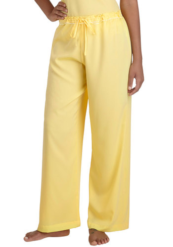 Draped in Dreams Sleep Pants - Yellow, Solid, Pastel, Lace, Casual, Exclusives