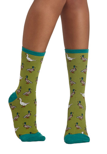 Duck, Duck, Goose Socks - Green, Multi, Print with Animals, Good, Trim, Knit, Casual, Quirky, Critters, Top Rated, Bird, Woodland Creature