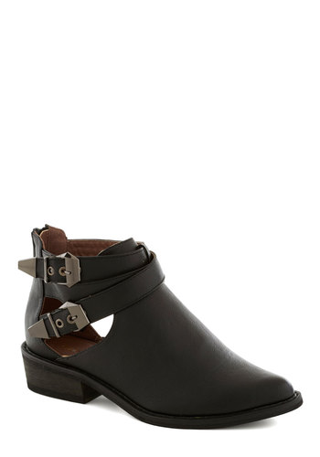 These Please Booties - Black, Solid, Buckles, Cutout, Low, Good, Faux Leather, Casual, 90s, Fall