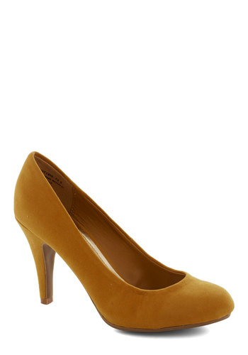 Dash of Saffron Heel - Yellow, Solid, Work, Mid, Good, Wedding, Party, Minimal, Faux Leather, Basic