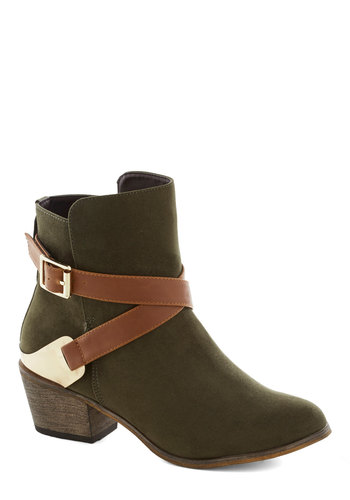 Thyme of My Life Bootie - Tan / Cream, Buckles, Safari, Mid, Chunky heel, Faux Leather, Good, Green, Solid, Casual, Fall, Top Rated