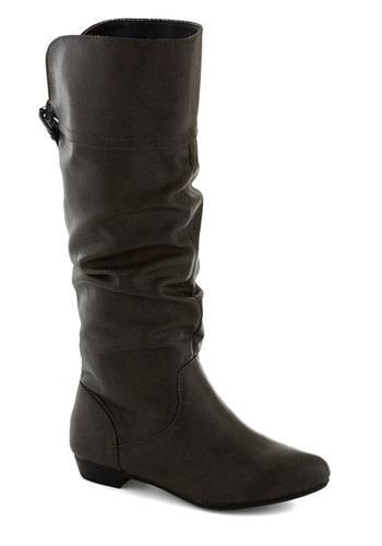 Oeuvre and Over Boot - Grey, Solid, Casual, Flat, Better, Fall, Faux Leather