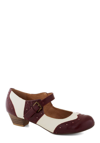 Fancy a Fox Trot Heel In Bordeaux by Chelsea Crew - Red, Menswear Inspired, Low, Mary Jane, Faux Leather, Better, White, Work, Vintage Inspired, Scholastic/Collegiate, Variation