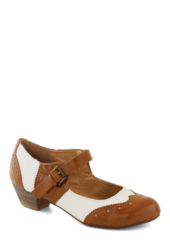 Fancy a Fox Trot Heel in Cognac by Chelsea Crew - Menswear Inspired, Low, Mary Jane, Faux Leather, Good, Brown, White, Buckles, Folk Art