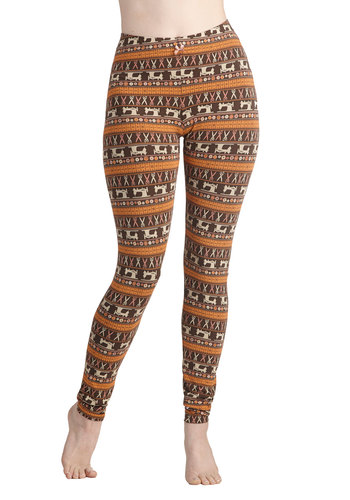 Sew Far Sew Good Leggings by Blutsgeschwister - Jersey, Cotton, Knit, Brown, Orange, Novelty Print, Casual, Skinny, International Designer, Fall, Folk Art