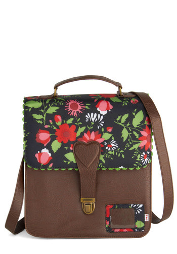 Campus Charm Bag by Blutsgeschwister - Brown, Multi, Floral, Scallops, International Designer, Faux Leather, Scholastic/Collegiate