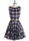 Luck Be a Lady Dress in Scholar - Blue, Red, Plaid, Belted, Party, Fit & Flare, Sleeveless, Exposed zipper, Variation, Fall, Basic, Cotton, Woven, Mid-length, Tan / Cream