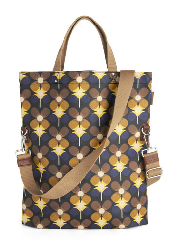 Orla Kiely Carrying Cachet Bag by Orla Kiely - Print, Vintage Inspired, 60s, Mod, International Designer, Leather, Cotton, Woven, Multi, Yellow, Blue, Tan / Cream, Work, Scholastic/Collegiate