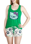 Hello Lullaby Sleep Top and Shorts Set - Green, Black, White, Novelty Print, Kawaii, Quirky, Racerback, Cotton, Multi, Knit