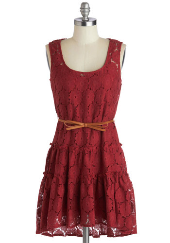 Rustic Memories Dress - Sheer, Woven, Short, Red, Solid, Bows, Belted, Casual, A-line, Tank top (2 thick straps), Good, Scoop, Lace, Rustic, Lace