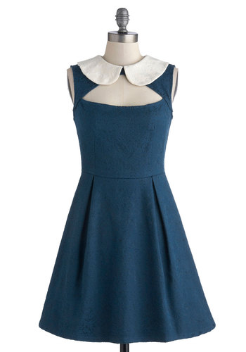 Calm, Cobalt, and Collected Dress - Woven, Mid-length, Blue, White, Peter Pan Collar, Pleats, Party, A-line, Sleeveless, Better, Collared, Solid, Cutout, Vintage Inspired
