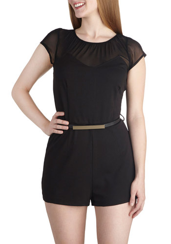 Come Find Me Romper - Black, Solid, Belted, Casual, Short Sleeves, Sheer, Knit, Long, Girls Night Out, Scoop