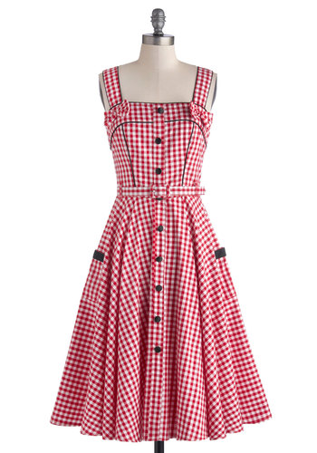 Spin There, Done That Dress - Cotton, Long, Woven, Black, White, Checkered / Gingham, Bows, Buttons, Pockets, A-line, Spaghetti Straps, Summer, Better, Red, Belted, Daytime Party, Rockabilly, Vintage Inspired, 50s