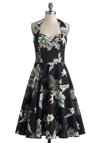 Sun-drenched Island Dress - Black, Multi, Floral, A-line, Better, Long, Cotton, Woven, Daytime Party, Beach/Resort, Vintage Inspired, 50s, Halter, Sweetheart