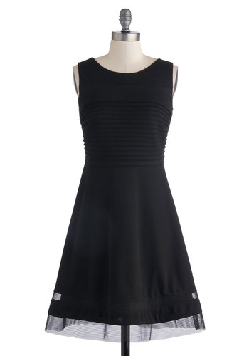 Style Accordion to You Dress - Mid-length, Sheer, Knit, Woven, Black, Solid, Cocktail, A-line, Sleeveless, Better, Scoop, Pleats, Party