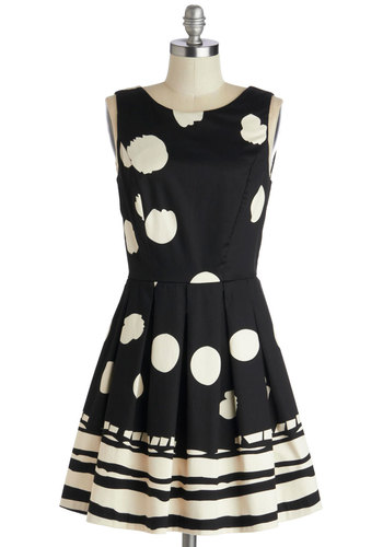 Dot My Heart Dress - Cotton, Woven, Mid-length, Black, White, Polka Dots, Exposed zipper, Pleats, Party, A-line, Sleeveless, Better, Print, Fit & Flare, Boat