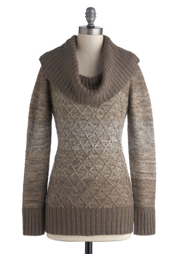 Jen's Tender Love and Wear Sweater in Oatmeal - Brown, Knitted, Casual, Long Sleeve, Cowl, Better, Fall, Winter, Knit, Variation, Mid-length, Solid, Brown, Long Sleeve, Gifts Sale